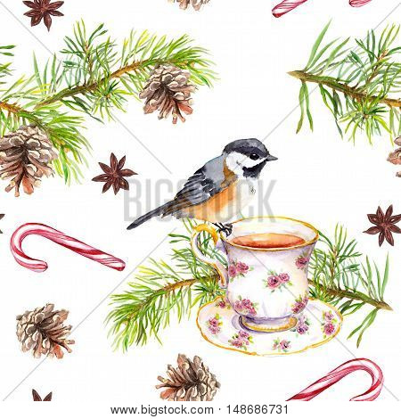 Bird on tea cup with pine tree branch, cone, candy cane. Repeating pattern. Watercolor