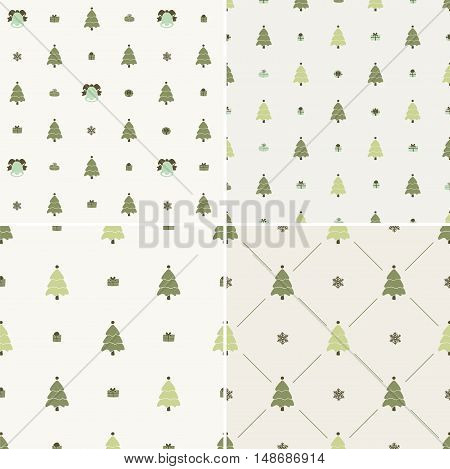 Christmas pattern, seamless. Merry Christmas card decoration. Happy New Year ornament design. Vintage Christmas tree, snowflake, gift box. Hand drawn vector icons for holiday celebration. Yellow set.