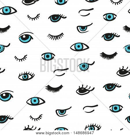 Doodle eyes seamless pattern. Vector background with cute blue eyes and lashes.