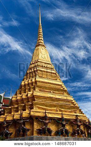 Golden Chedi Of Wat Phra Kaew In Bangkok, Thailand
