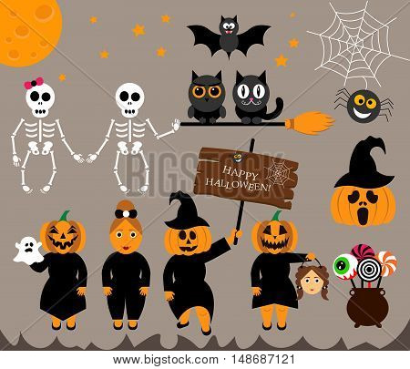 Vector set characters for Halloween in cartoon modern style.People - Pumpkin, ghost, candy, cauldron, cat, owl, broom, moon, bat and other traditional elements of Halloween.
