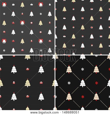 Christmas pattern, seamless. Merry Christmas card decoration. Happy New Year ornament design. Vintage Christmas tree, snowflake, gift box. Hand drawn vector icons for holiday celebration. Black set.