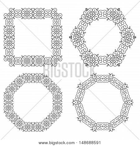 Set Of Decorative Frames And Borders. Mono Line Design Templates, Isolated On White Background