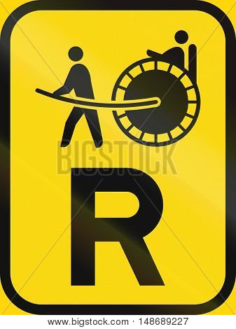 Temporary Road Sign Used In The African Country Of Botswana - Reservation For Rickshaws