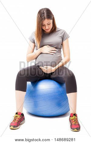 Pregnant Woman On A Stability Ball