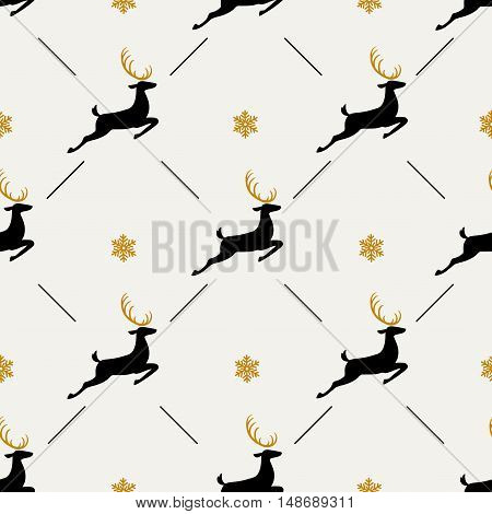 Christmas pattern, seamless design. Merry Christmas card decoration. Happy New Year ornament. Vintage black golden graphics of deer and snowflake. Hand drawn vector icons for holiday sale.