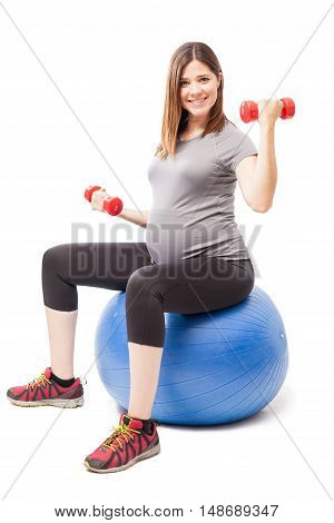 Happy Pregnant Woman Staying Fit