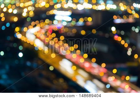 Abstract blurred lights city highway road curved night view