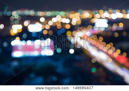 Blurred lights night view city road curved, abstract background