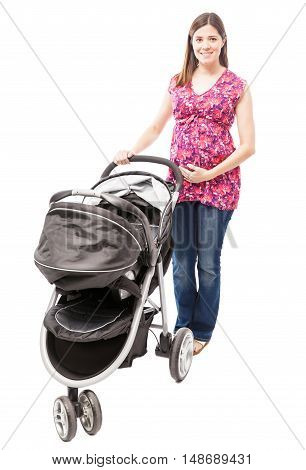 Pretty Pregnant Woman With A Stroller
