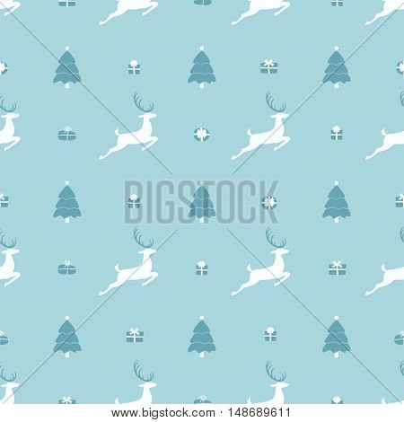 Christmas pattern, seamless design. Merry Christmas card decoration. Happy New Year ornament. Vintage blue graphics of deer and gift box. Hand drawn vector icons for holiday sale and celebration.