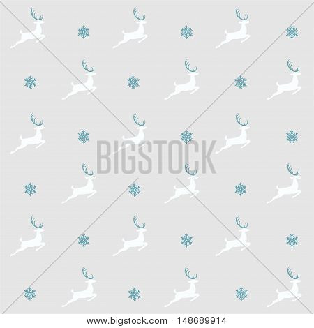 Christmas pattern, seamless design. Merry Christmas card decoration. Happy New Year ornament. Vintage grey graphics of deer and snowflake. Hand drawn vector icons for holiday sale and celebration.