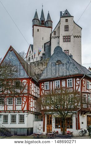 View of Diez with castle on the hill Germany