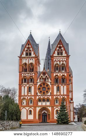 The Catholic Cathedral of Limburg Germany is high location on a rock above the Lahn river. The building is one of the most perfect buildings of the late Romanesque style