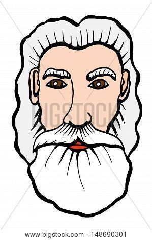 Vector hand drawn portrait of an old bearded man. Vector