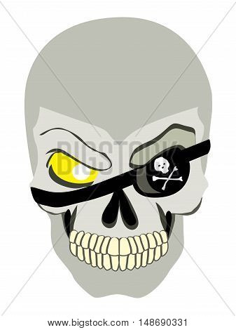 Danger pirate skeleton in bandane vector portrait.
