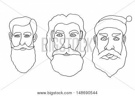 Set of Monochrome santa claus in cartoon style. Vector. Illustration