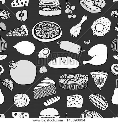 Seamless Monochrome vector hand drawn food cartoon background