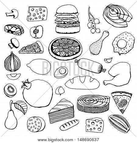 Monochrome vector hand drawn food cartoon set of objects and symbols.