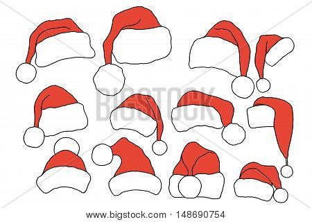 Set doodle Christmas hats for your creativity. Vector illustration