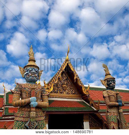 Wat Phra Kaew Temple In Bangkok, Thailand.