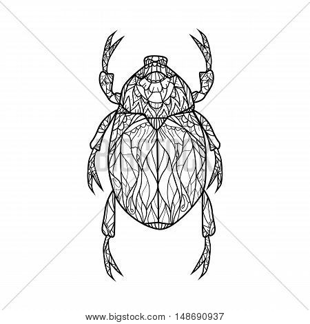 Bug Vector illustration for coloring book. Adult antistress coloring page. Contour drawing in zentangle style. Stock vector.