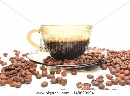 cup of coffee and coffe beans on white background