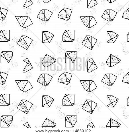 Seamless pattern of contour stones. Geometric shapes ornament. Vector abstract background. Endless texture for your design. Stock vector.