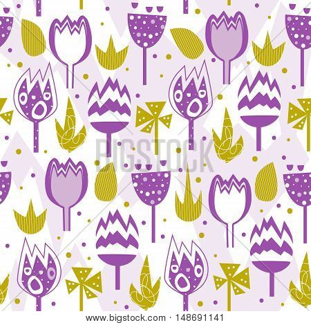 Seamless vector pattern of abstract flowers. Cartoon floral decorative wallpaper.