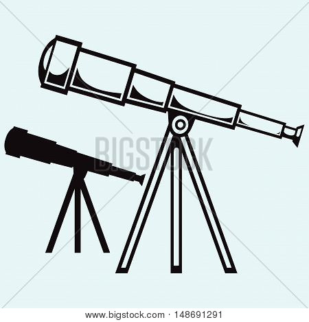 Telescope in tripod. Isolated on blue background. Vector silhouettes
