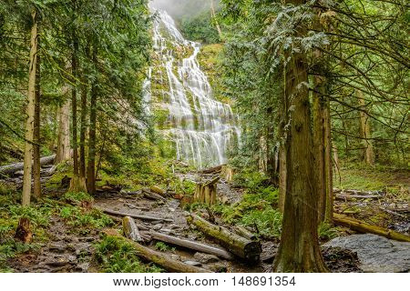 Bridal Falls waterfall in autumn forest at Vancouver, Canada.