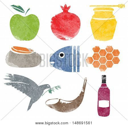 Rosh Hashana icons set for Shana Tova with texture in vector format