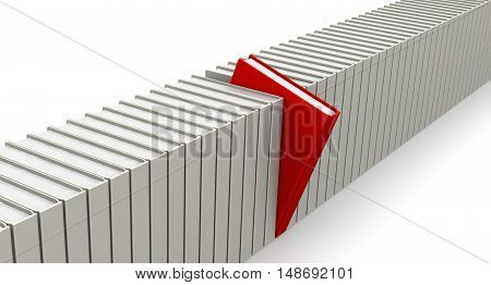 The required book. Red book among the white. Isolated. 3D Illustration