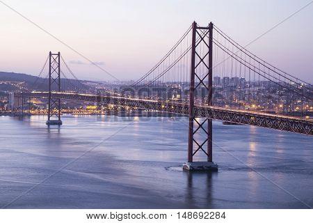 25th of April Suspension Bridge in Lisbon Portugal