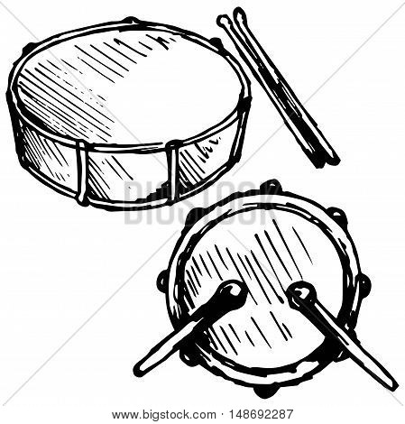 Drum set. Isolated on white background, doodle style