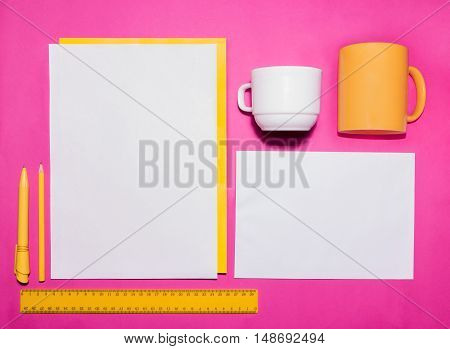 Mock-up business template with cards, papers, pen on pink background.