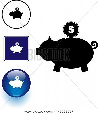 piggy bank symbol sign and button