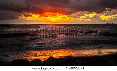 Sunset. Beautiful sunset Black sea. Gold sea sunset.