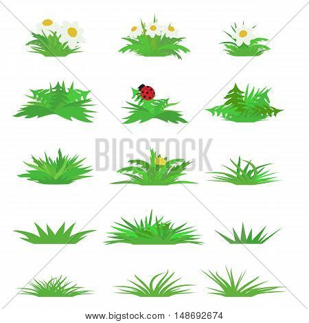 Vector flat grass set isolated on white background. Horizontal abstract spring fresh grass kit  in cartoon style for illustration and game design.