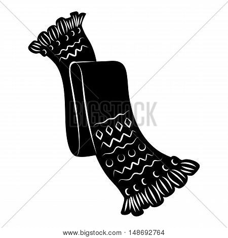 Knitted scarf with pattern icon in simple style on a white background vector illustration