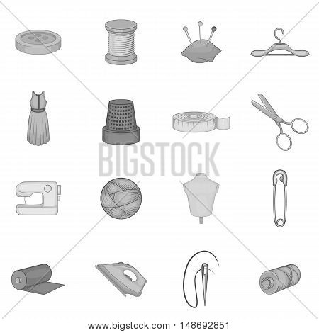 Tailoring icons set in black monochrome style. Sewing and needlework set collection vector illustration