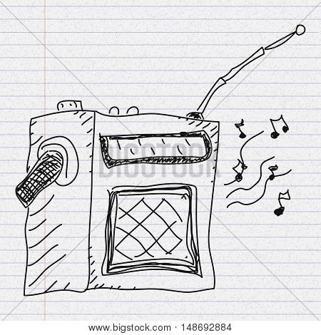 Doodle Sketch Of A Radio On Paper Background