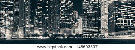 Urban architecture skyscrapers background in Singapore