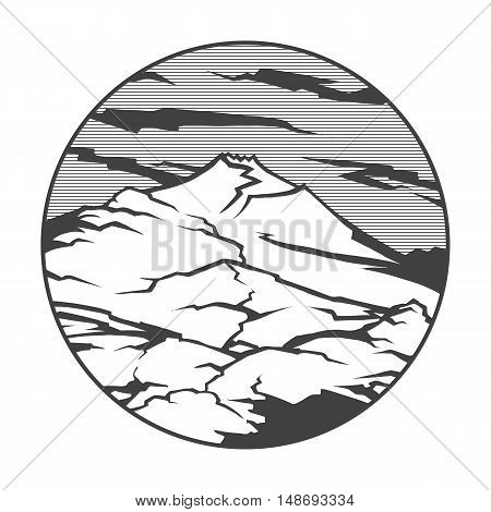 Vector image of a volcano Etna on the background of nature and sky.round black white icon thumbnail