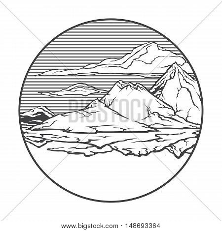 Vector image of a volcano Krakatau on the background of nature and sky.round black white icon thumbnail
