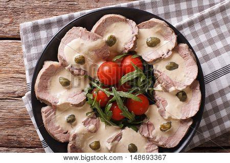 Italian Beef With Tuna Sauce Close-up. Horizontal Top View