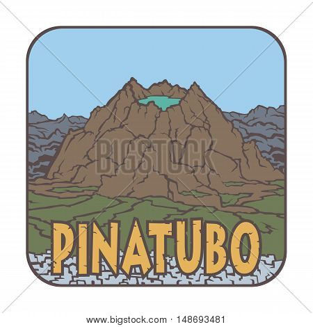 Vector image of a volcano Pinatubo on the background of nature and sky.square color thumbnail icon