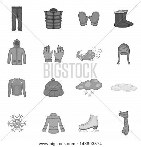 Winter clothes icons set in black monochrome style. Clothes and accessories for skating set collection vector illustration