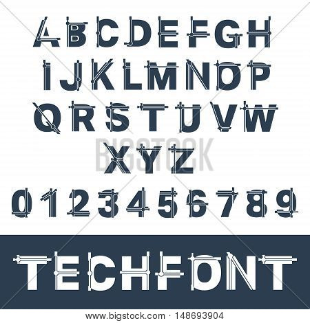Techno alphabet font template. Set of letters and numbers. Vector illustration
