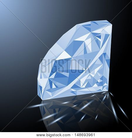 Realistic shining white diamond jewel with reflection white glow and light sparks on gradient background. Colorful gemstone that can be used as part of logo icon web decor or other design.